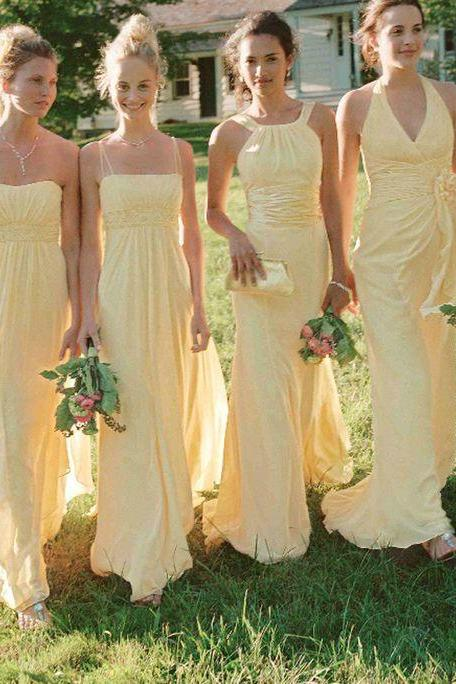 2018 Yellow Bridesmaid Dress, Different Style Chiffon Bridesmaid Dresses, Long Bridesmaid Dress