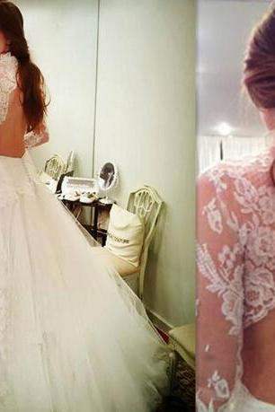 2018 Garden Open Back Wedding Dresses High Neck Tulle Appliques Lace Bridal Gowns Long Sleeved Robe De Mariee Courte