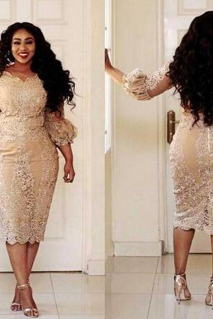 African Champagne Mother Of The Dresses Jewel Neck Applique Illusion 3/4 Sleeve Long Sleeve Evening Gowns Plus Size Mermaid Prom Dress