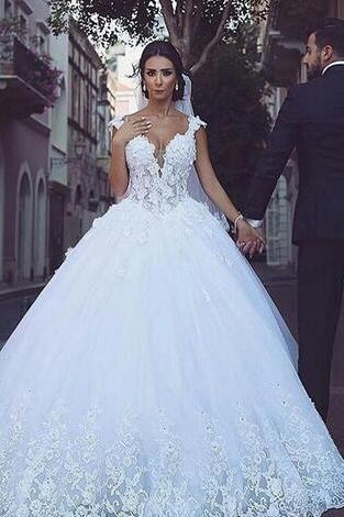 Said Mhamad Ball Gown Wedding Dresses Sexy Cap Sleeves Lace Appliques Deep V Neck Lace Wedding Dress Floor Length Custom Made Bridal Dres