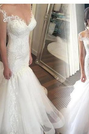 Charming Mermaid Lace Tulle Wedding Dresses Sexy Sweetheart Mermaid Beaded Appliques Buttons Back Bridal Gowns Custom Made