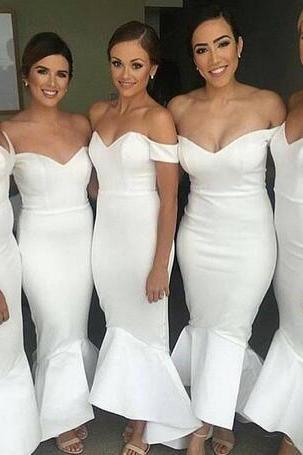 2018 New White Long Mermaid Bridesmaid Dresses Off Shouder Satin Wedding Party Maid Of Honor Gowns Hi-lo Wedding Guest Dresses