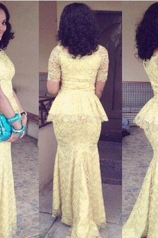 African Fashion Vestido Longo O Neck Short Sleeve Mermaid Floor Length prom Gown Yellow Lace Elegant Nigeria Style Dresses
