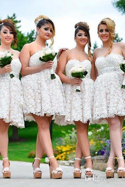 Customisable White Lace Knee Length Mismatched Bridesmaid Dresses