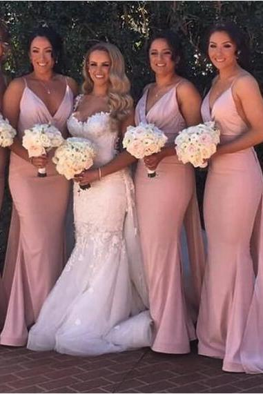 Light Pink Bridesmaid Dresses, Simple Sexy Deep V Neck Bridesmaid Gowns