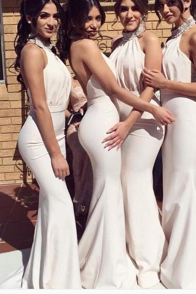 Mermaid Bridesmaid Dresses, Simple High Neck Bridesmaid Gowns, Beading Prom Dress
