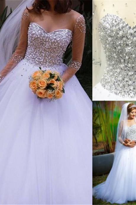 Ball Gown Wedding Dress, Luxury Crystal Wedding Dresses. Sweetheart Bridal Dress, Tulle Long Bridal Gown