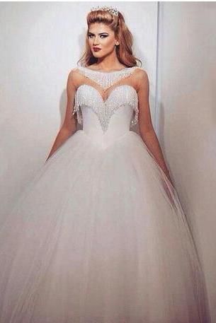 2018 Bling Ball Gown Wedding Dresses with Bateau Neckline Sweetheart Neck Illusion Beading Glass Crystals Tulle Elegant Bridal Gowns