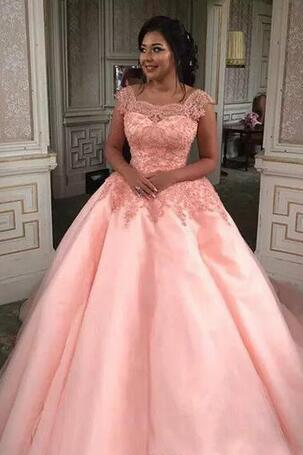 Wedding Dresses 2018 Pink Ball Gown Wedding Dress Sheer Square Neck Lace Appliques Tulle Bridal Gowns Lace-up Back Custom Made