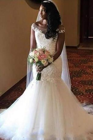 2018 Plus size Mermaid Wedding Dresses Bridal Gown Vintage Lace Glamorous Wedding Dress Sexy Mermaid Wedding Gowns