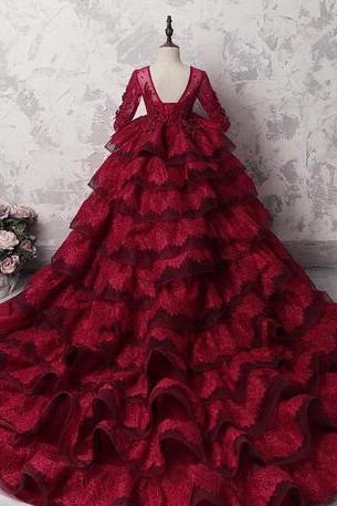 Amazing Multi-Layer Girls Pageant Gowns Dark Red Lace Long Sleeves Appliques Beads Flower Girl Dresses For Wedding Long Train Party Dress