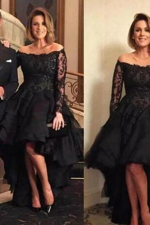 Black High Low Lace Mother Of The Bride Dress Sexy Off Shoulder Long Sleeves Evening Gowns Beaded Wedding Guest Dress