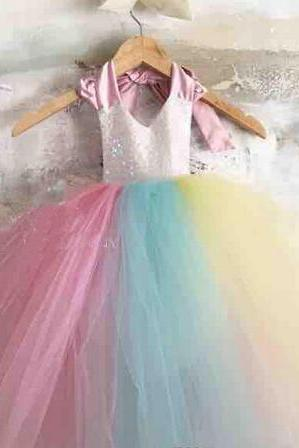 Summer Flower Girl Dresses For Weddings Jewel Neck Tulle Appliques Little Kids First Communion Birthday Ball Pageant Gowns 2018