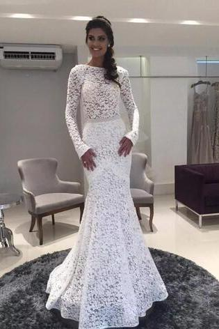 Modest Mermaid Lace Wedding Dresses With Long Sleeve Bateau Neck Bridal Gowns Cheap Floor Length Plus Size Vestidos De Noiva