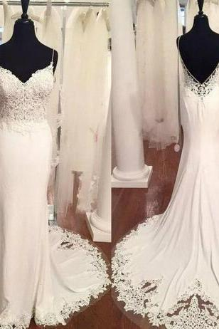 Romantic White Mermaid Wedding Dress Spaghetti Strap Lace Appliques Backless Garden Bridal Gowns Vestidos De Noiva Boho Wedding Dress