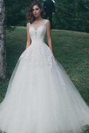 2018 Sheer Mesh Top Lace A Line Wedding Dresses Tulle Applique Floor Length Wedding Bridal Gowns