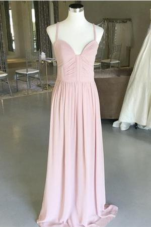 Sexy Spaghetti Straps Long Chiffon Ruched Sweetheart Bridesmaid Dresses