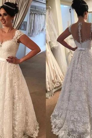 Romantic White Ivory Lace Wedding Dresses 2018 A Line Sheer Scoop Neckline Cap Sleeves Backless Floor Length Bridal Gowns Appliqued Vestidos