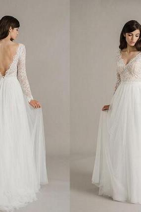 V-Neck Lace Appliqués A-line Wedding Dress with Long Sleeves and V-Back