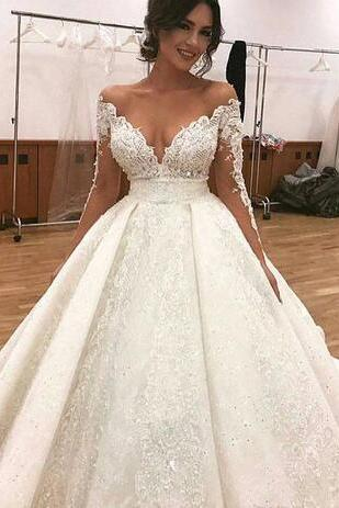 Deep V-Neck Lace Wedding Dresses 2018 Sexy Appliques Sheer Illusion Long Sleeves Off Shoulder Puffy Bridal Gowns Arabic Dubai Styles