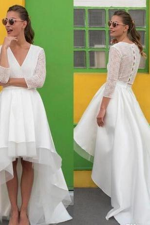 V-Neck Tiered High-Low Wedding Dress Featuring Sheer 3/4 Sleeves and Train