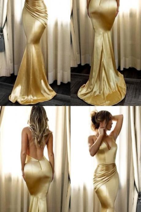 Mermaid Spaghetti Straps Long Gold Prom Dress with Ruched