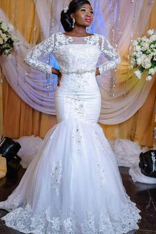 Charming African Lace Plus Size Mermaid Wedding Dresses Arabia Sheer Long Sleeve Beads Applique Bridal Gown Church Bride Dress New Arrival