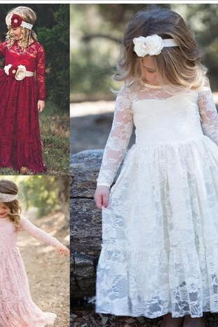 Fully Lace First Communion Dresses for Girls 2018 Long Sleeves Flower Girl Dress Ankle Length Jewel Neck Kids Birthday Formal Wear Gown