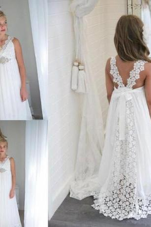 Beach Wedding Flower Girl Dresses Simple Lace Empire 2018 v Neck Long Girls Pageant Gowns With Beaded Belt Straps Back Birthday Party Dress