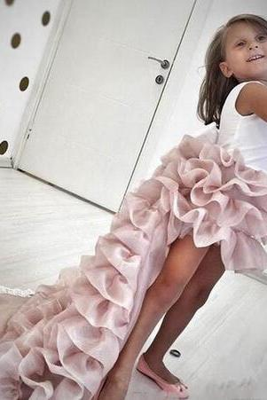Pink Tierd Ruffles Girls Pageant Dresses 2018 Newly High Low Jewel Neck Long Train Formal Party Wears Bow Sash Back Flower Girl Dresses