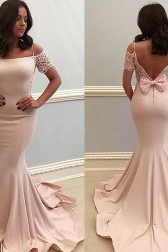 2018 Sexy Spaghetti Mermaid Prom Dresses Lace Satin Backless Cheap Prom Party Dress Evening Gowns Custom Made