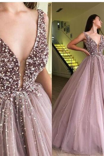 Pink Plunging Neckline Sleeveless Prom Ball Gown 2018 Princess Floor Length Tulle Appliques Lace Prom Dresses With Crystal Beading Sweet 16