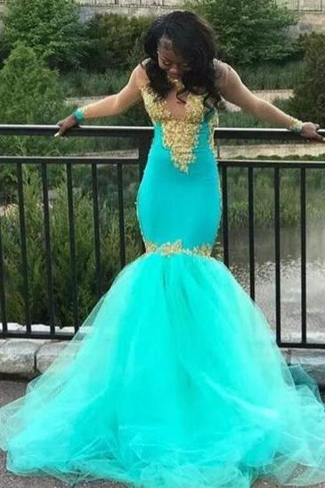 African Mermaid Prom Dresses Long Gold Appliques Lace Illusion Long Sleeves Evening Gowns Sweep Train Tulle Custom made Party Dress Vestido