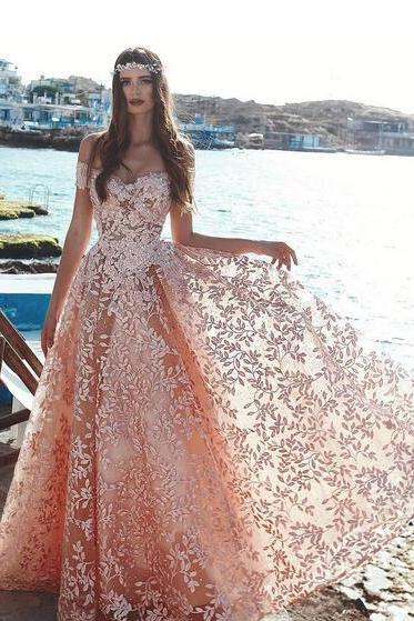 Light Sky Pink Floral Embellished Lace Prom Dresses 2019 Fashion Off the Shoulder A-Line/Princess Beaded Tulle Formal Evening Gowns