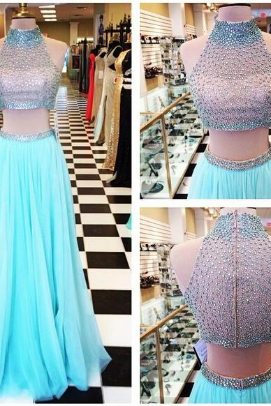 A Line Turquoise Two Pieces Chiffon Prom Dresses High Neck Beading Crystals Evening Dresses Party Gowns Vestidos
