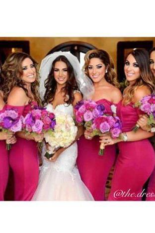 Hot Pink Mermaid Satin Bridesmaid Dresses Off the Shoulder Sleeveless Long Prom Dress Party Gowns Vestidos