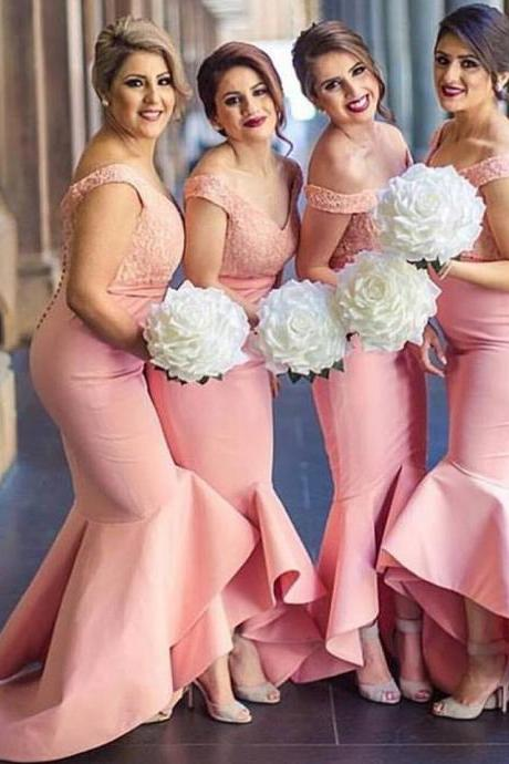 Pink Mermaid Satin Bridesmaid Dresses Off the Shoulder Lace Bodice Prom Dress Party Gowns Formal Dresses