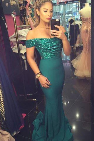 Mermaid Satin Evening Dresses Off the Shoulder Sequins Lace Sleeveless Prom Dress Party Gowns Vestidos