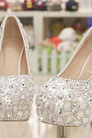Women Shoes, Ladies Luxury Crystal Diamond Wedding Shoes, Waterproof Platform Bridal Shoes, High-heeled Shoes Pumps