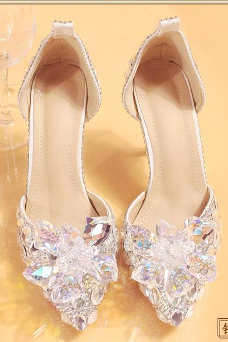 Women Shoes, Luxury Crystal Diamond Wedding Shoes, Waterproof Platform Bridal Shoes, High-heeled Shoes Pumps