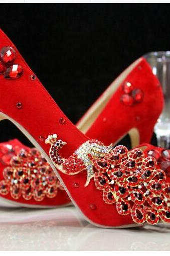 Women Shoes, Red Wedding Shoes, Waterproof Platform Bridal Shoes, High-heel Shoes Pumps