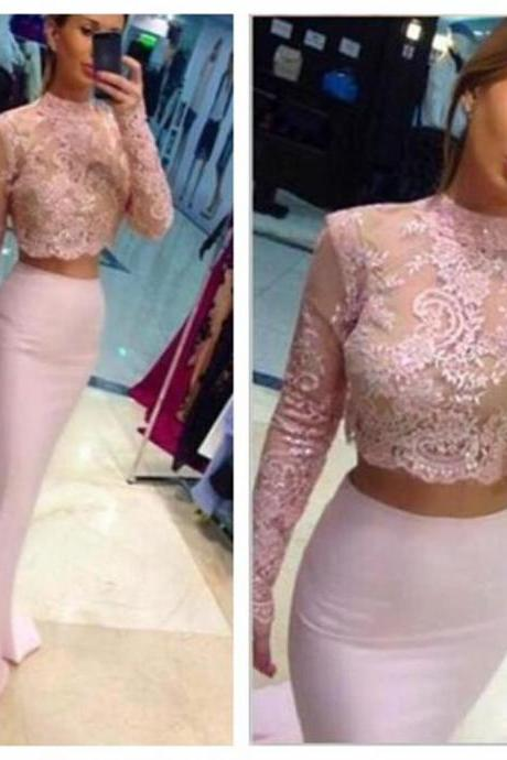 Two Pieces Prom Dress,Pink Prom Dress,Long Sleeves Prom Dress,Custom Prom Dress,Fashion Prom Dresses,Long Prom Dress,Evening Dress , Party Prom Dress