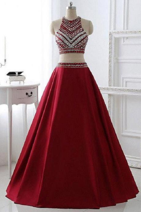 A-line Two Pieces Halter Sleeveless Floor-length Burgundy Satin Long Formal Dresses,Prom Dresses