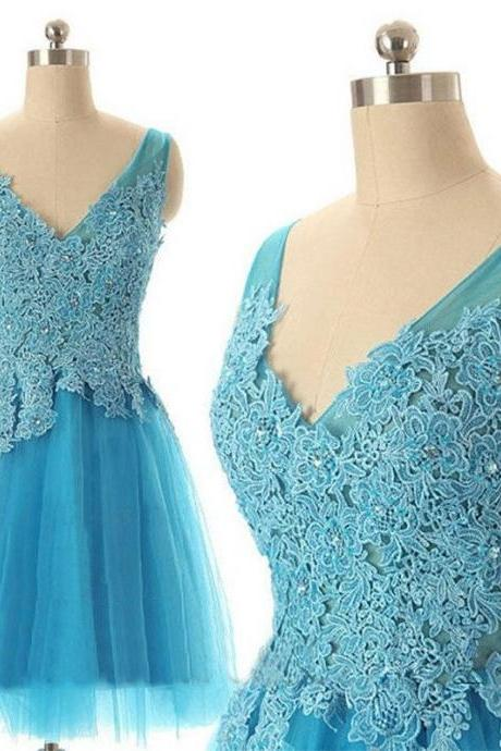 A-line V-neck Sleeveless Lace Appliqued Blue Tulle Homecoming Dresses,Simple Short Prom Dresses