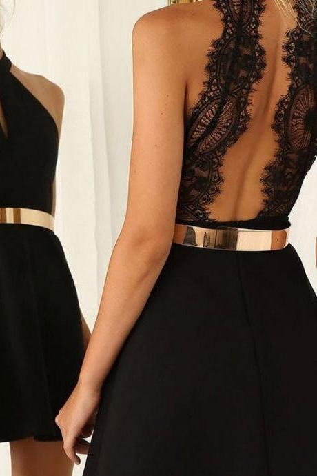 Graceful Halter Little Black Dresses with Gold Sash Homecoming Dresses
