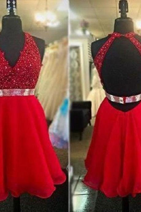 A-line Halter V-neck Red Chiffon Backless Homecoming Dresses
