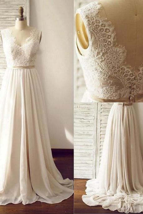 Elegant V-neck Sleeveless Sweep Train Chiffon Wedding Dress with Lace Open Back