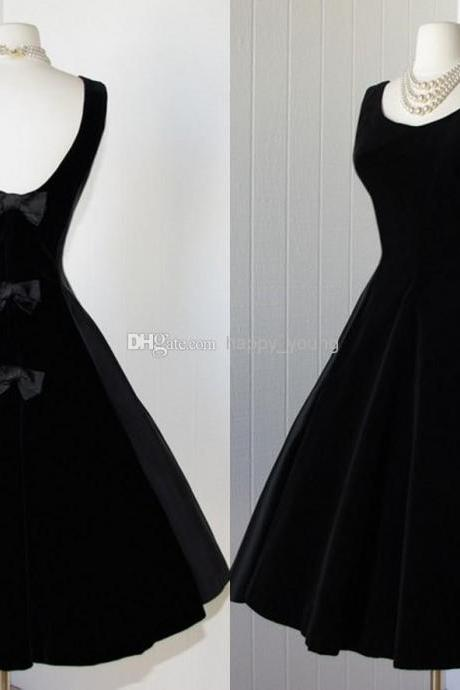 1950S Vintage Prom Dress, Black Velevt Prom Gowns