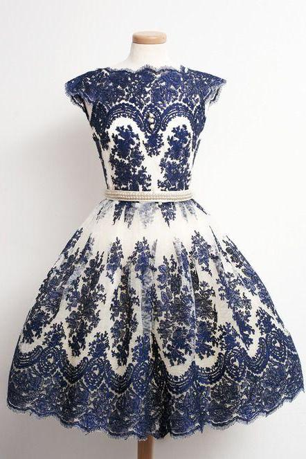 1950S Vintage Prom Dress, Blue Prom Gowns, Mini Short Homecoming Dresses