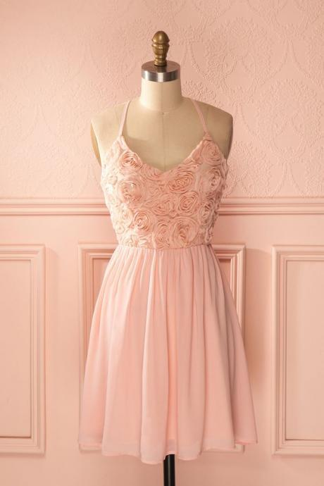 1950S Vintage Prom Dress, Pink Prom Gowns, Mini Short Homecoming Dress
